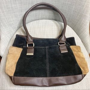 Tignanello black suede and leather top handle bag